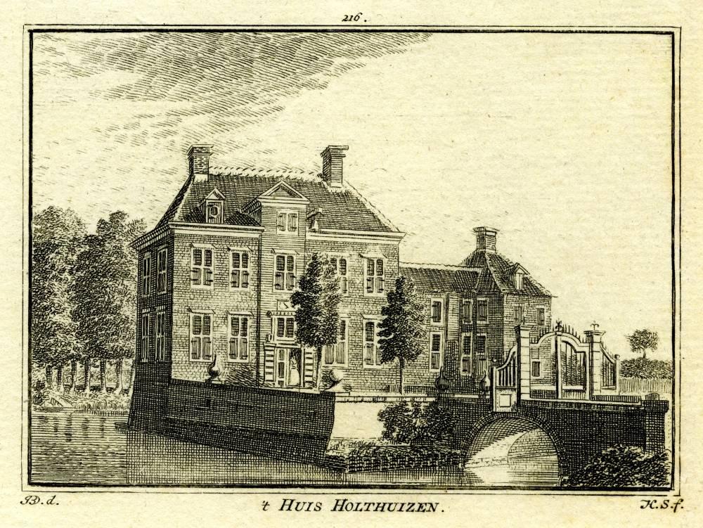 Huize Het Holthuis in Twello. Tekening Jan de Beijer, gravure Hendrik Spilman (Uit: Het Verheerlykt Nederland, Isaac Tirion, 1745/1774)